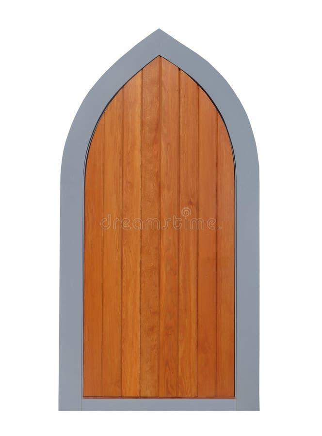 Porta de madeira arqueada isolada fotos de stock