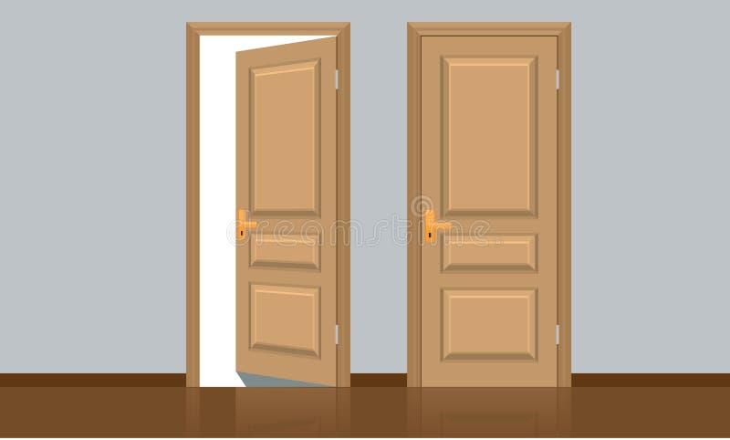 Porta de madeira clássica aberta e fechado realística Estilo liso da cor ilustração do vetor