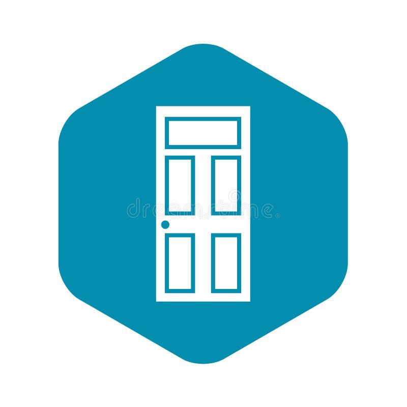 Porta de madeira com ícone de vidro, estilo simples ilustração do vetor