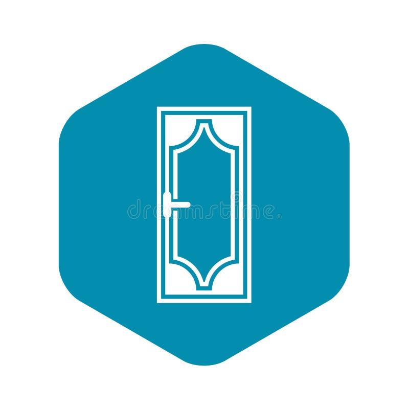 Porta de madeira com ?cone de vidro, estilo simples ilustração do vetor