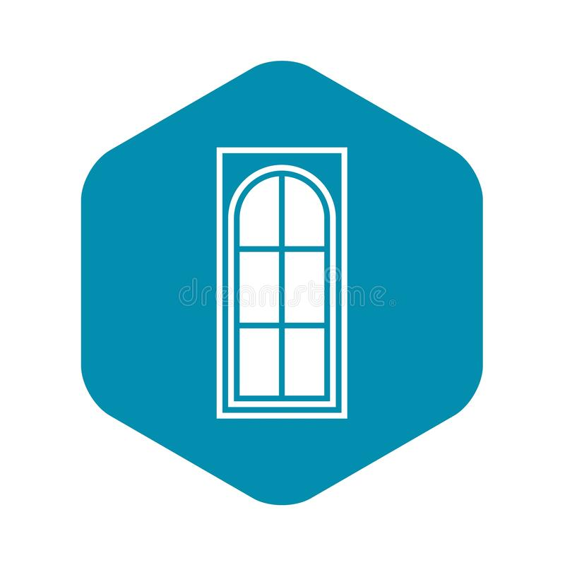 Porta de madeira com ?cone de vidro, estilo simples ilustração royalty free