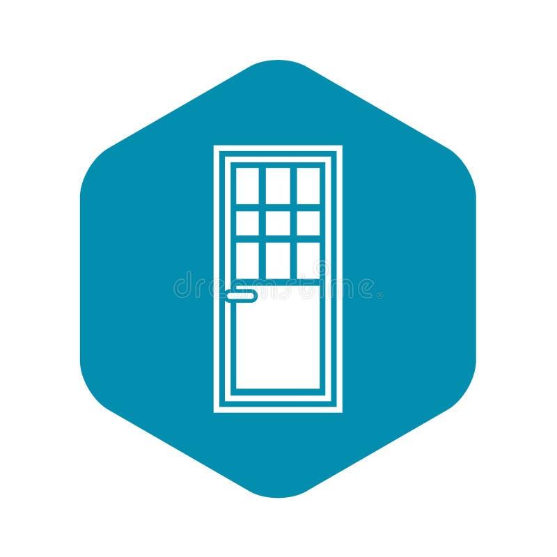 Porta de madeira com ?cone de vidro, estilo simples ilustração stock