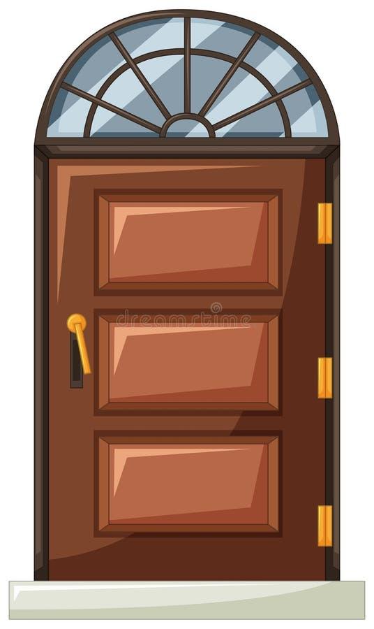 Porta de madeira com a janela da curva na parte superior ilustração stock