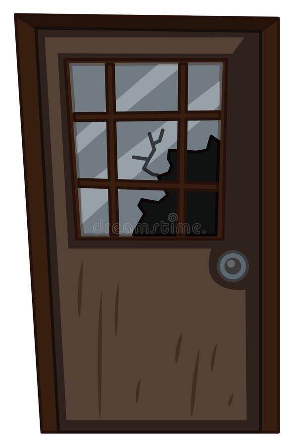 Porta de madeira com janela quebrada ilustração stock