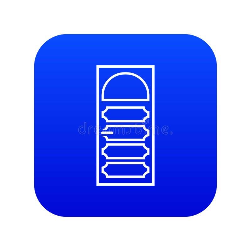 Porta de madeira com um azul digital arqueado do ícone de vidro ilustração stock