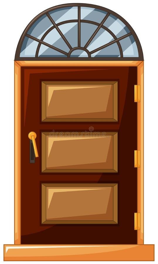 Porta de madeira com vidro na parte superior ilustração stock