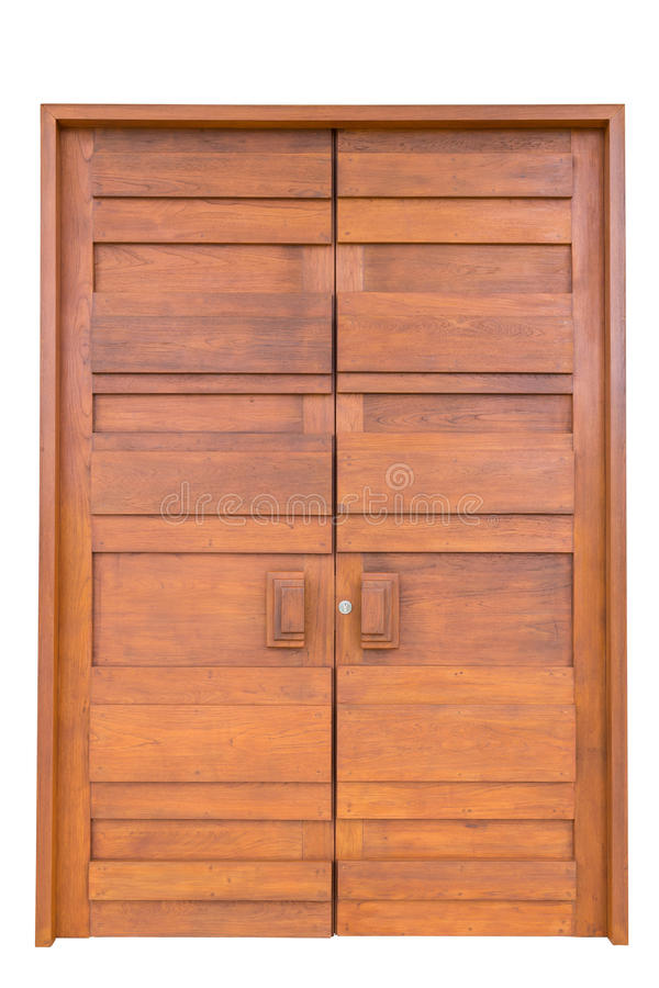 Porta de madeira da teca grande na casa de campo luxuosa isolada no branco foto de stock