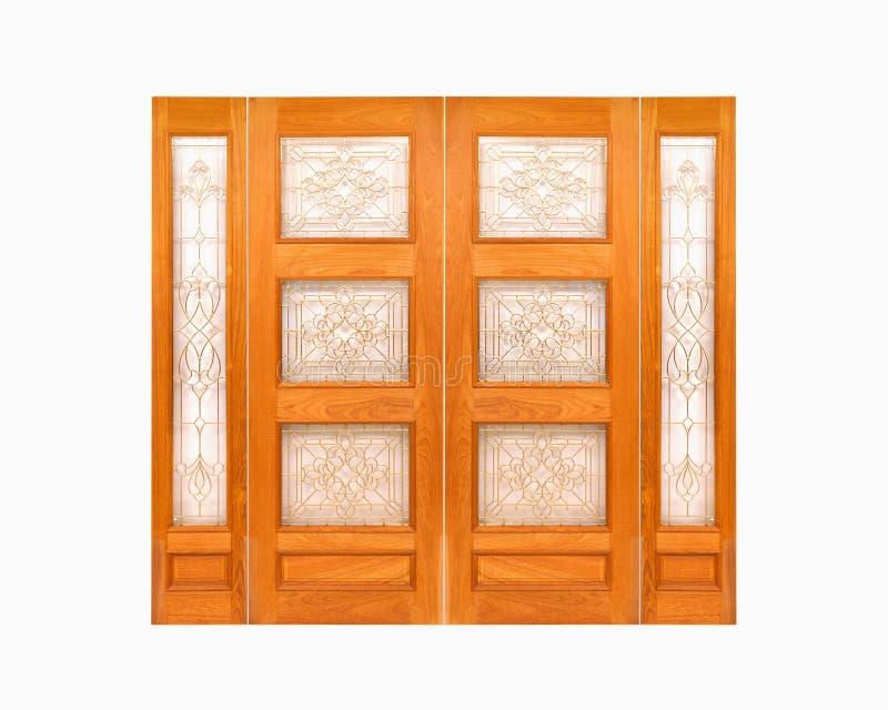 Porta de madeira da teca no fundo branco isolado imagem de stock royalty free