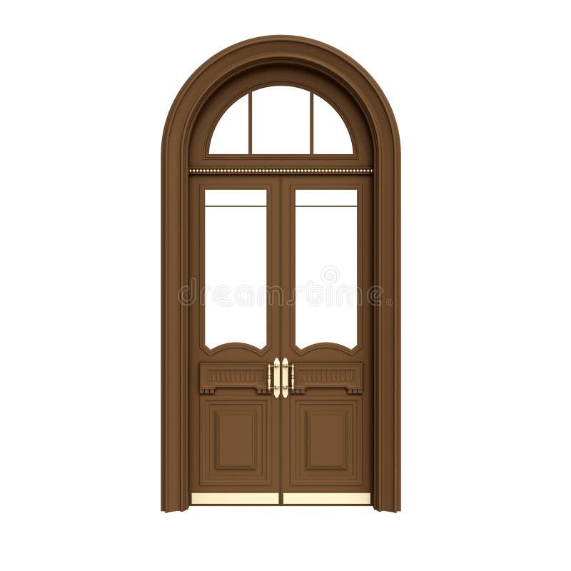 Porta de madeira de Brown isolada no branco ilustração royalty free
