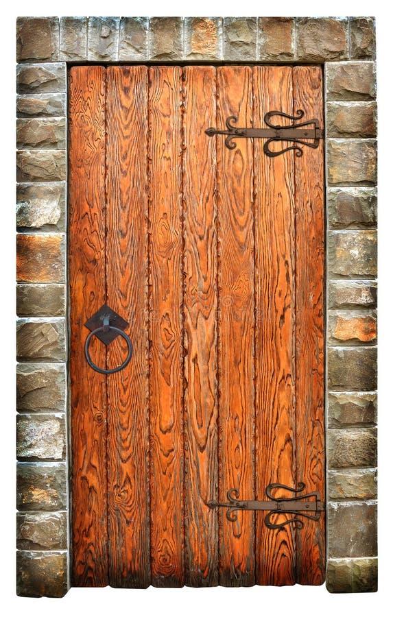 Porta de madeira do vintage na parede de tijolo imagens de stock