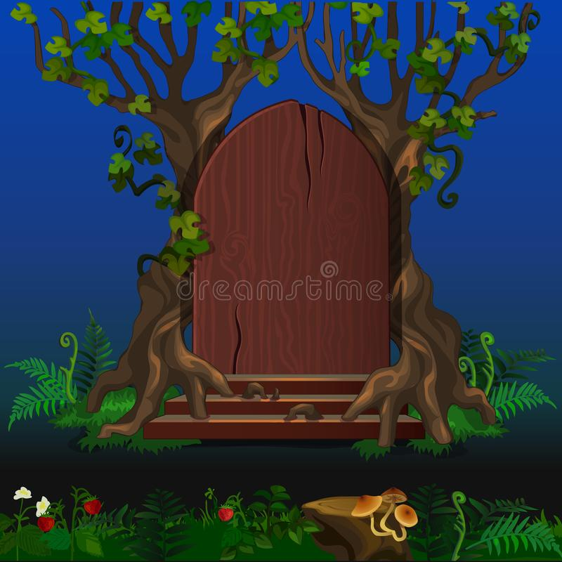 Porta de madeira na paisagem mágica dos desenhos animados da floresta ilustração do vetor