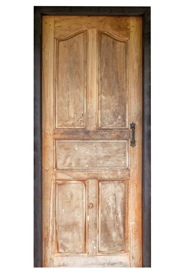 Porta de madeira no fundo branco imagens de stock