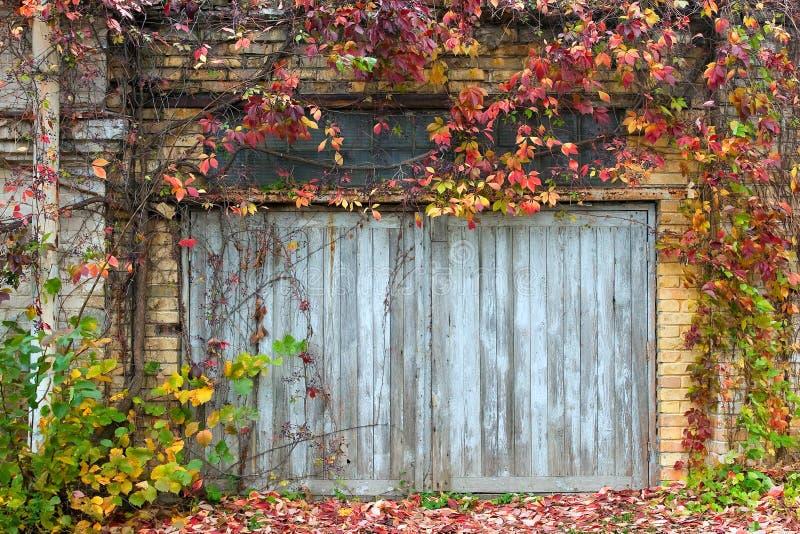 Porta de madeira velha com uma parede de tijolo fotos de stock royalty free