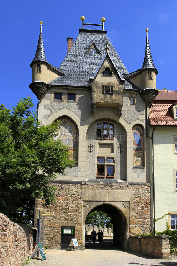 Porta de Mitteltor no monte do castelo, Meissen, Saxony fotografia de stock