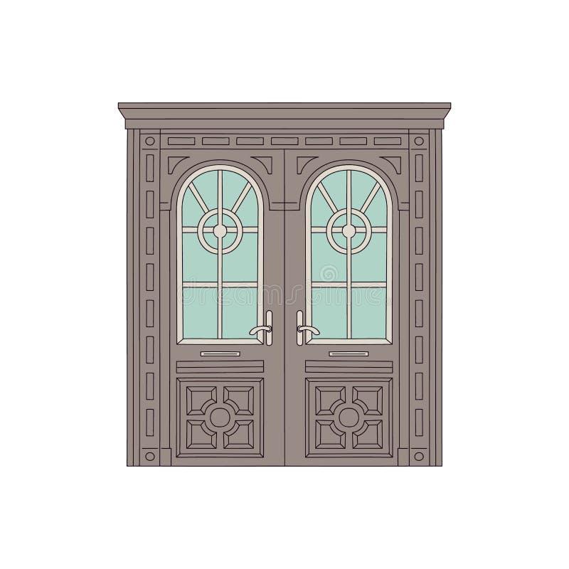 Porta de tiragem bonita da casa e da construção com vidros e arcos no projeto tradicional do vintage ilustração do vetor