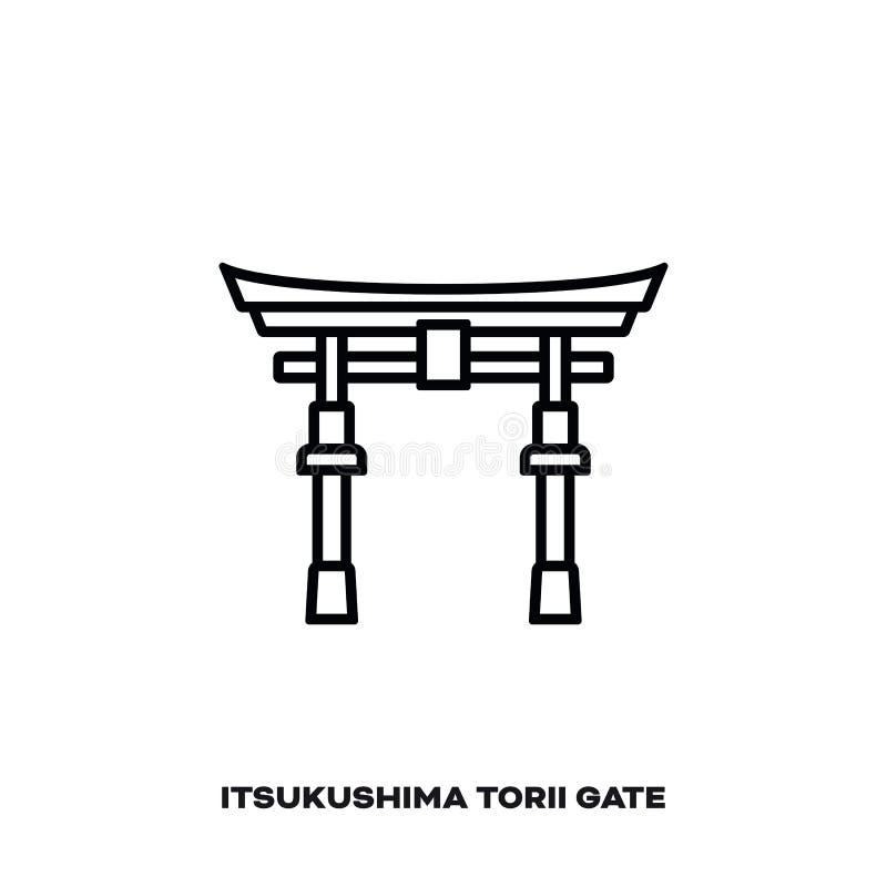 Porta de Torii do santuário de Itsukushima, Japão, linha ícone do vetor ilustração royalty free