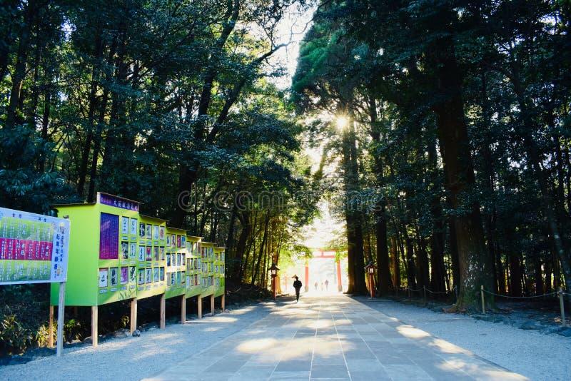 Porta de um templo em Kagoshima, Japão, com muitas árvores verdes imagem de stock royalty free