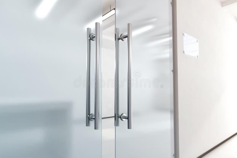 A porta de vidro vazia com punhos do metal zomba acima, fotografia de stock