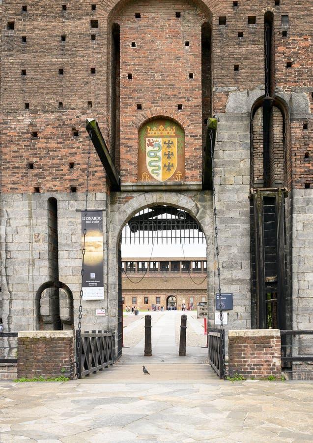 Porta Dei Carmini Sforza wejściowy kasztel w Mediolan, Włochy zdjęcie royalty free