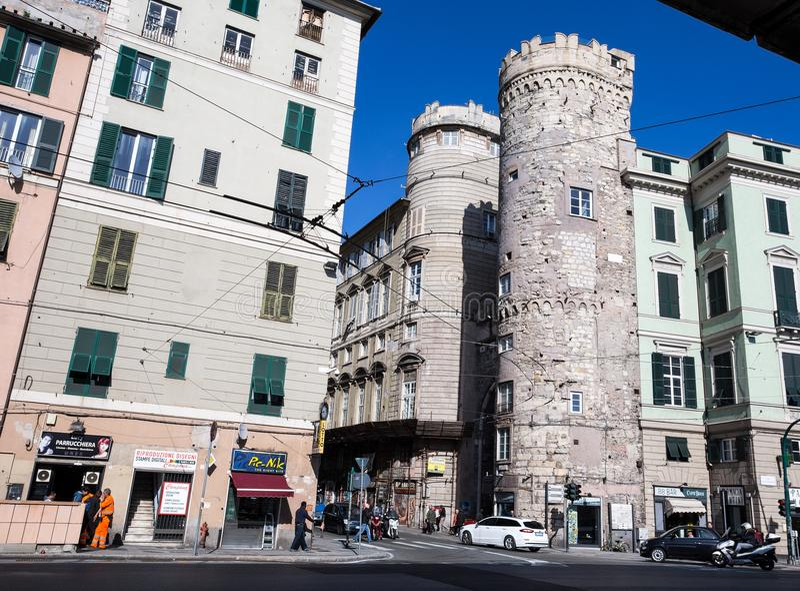 Porta dei Vacca, originally called Porta di Santa Fede is a ancient gate inside historic centre of Genoa, Italy. Porta dei Vacca, originally called Porta di stock image