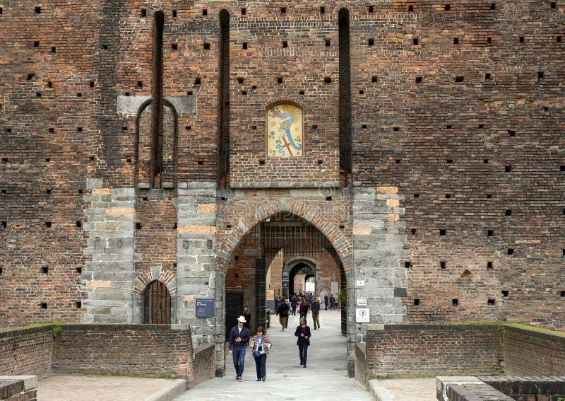 Porta Del Barcho Sforza wejściowy kasztel w Mediolan, Włochy zdjęcia stock