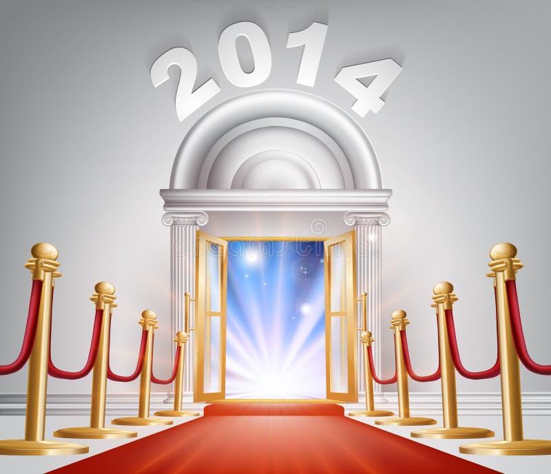 Porta 2014 del nuovo anno del tappeto rosso illustrazione vettoriale