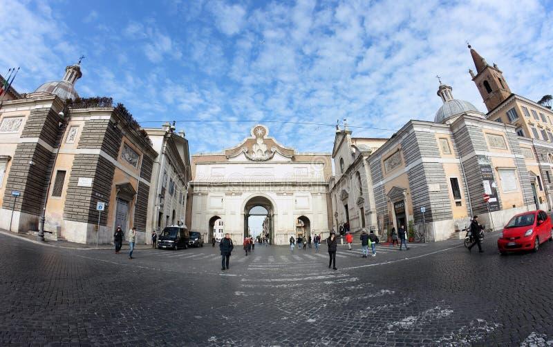 Porta Del Popolo brama Aurelian ściany, Rzym zdjęcia royalty free