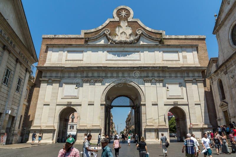 Porta del Popolo at Piazza del Popolo in city of Rome, Italy. ROME, ITALY - JUNE 22, 2017: Porta del Popolo at Piazza del Popolo in city of Rome, Italy royalty free stock photos