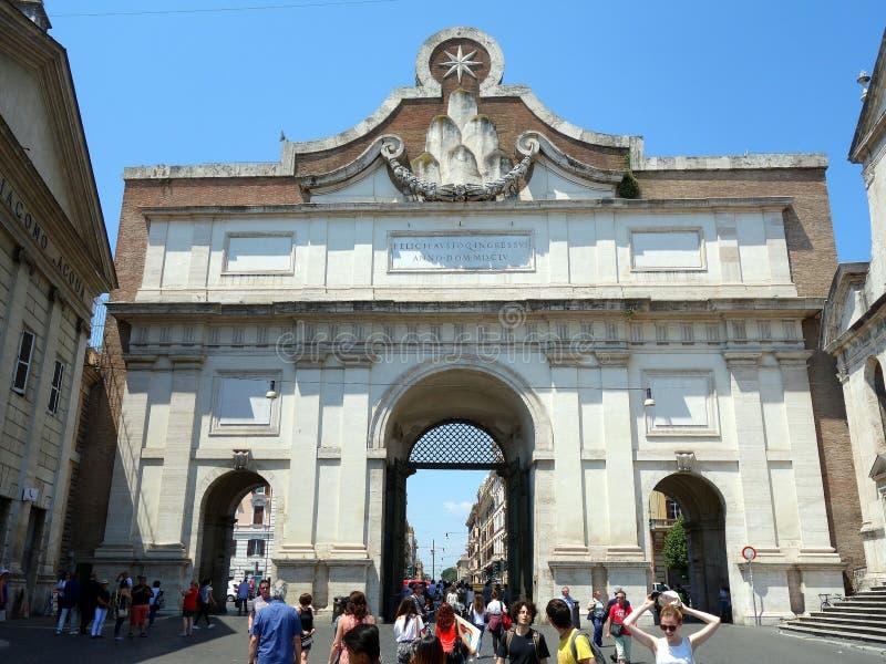 Porta del Popolo, Rome. The Porta del Popolo is the main entrance to the Piazza del Popolo, central Rome, Italy stock image