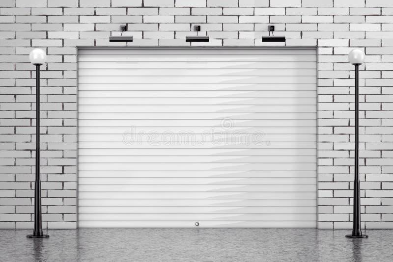 Porta del portone della saracinesca del garage con il muro di mattoni e la via Ligh illustrazione di stock