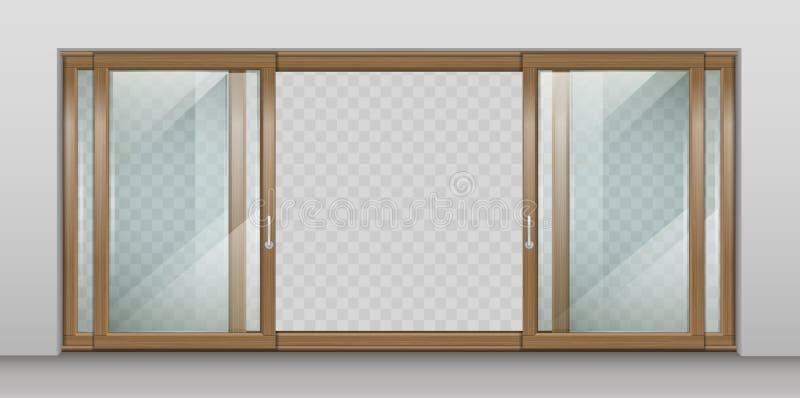 Porta deslizante de madeira ilustração do vetor