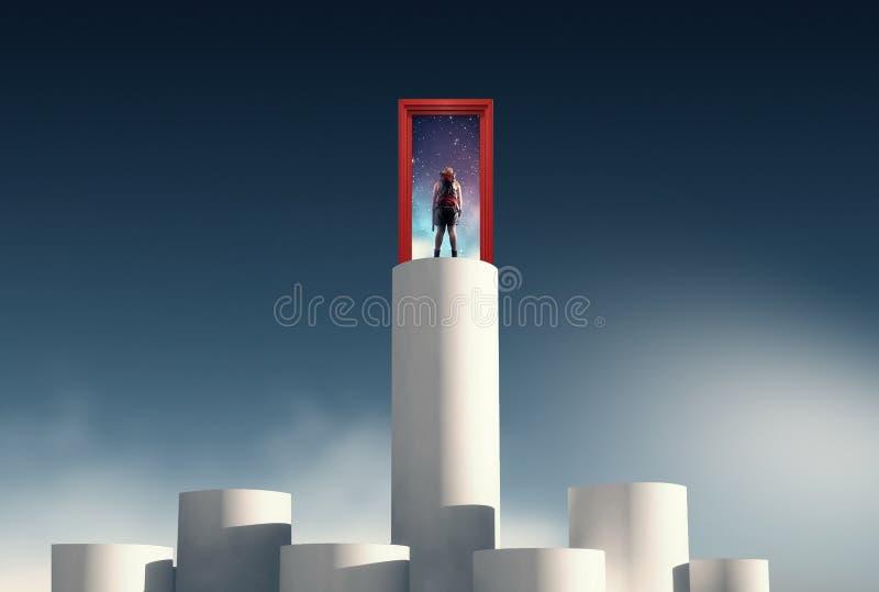 Porta di aspirazione La donna sta sull'più alta colonna fotografia stock libera da diritti