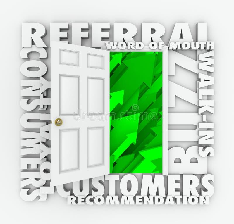 Porta di crescita di vendite dei clienti di bocca in bocca di affari di rinvio royalty illustrazione gratis