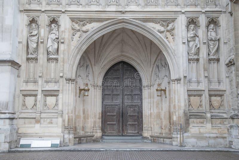 Porta di entrata principale dell'abbazia di Westminster, Londra fotografia stock