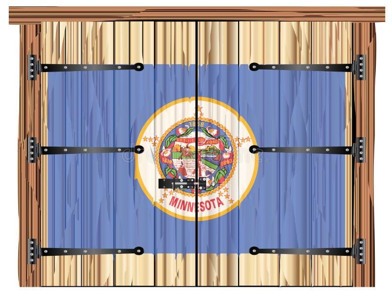 Porta di granaio chiusa con la bandiera dello stato del Minnesota royalty illustrazione gratis
