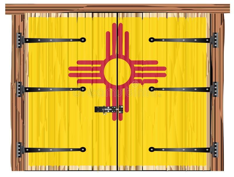 Porta di granaio chiusa con la bandiera dello stato del New Mexico illustrazione di stock