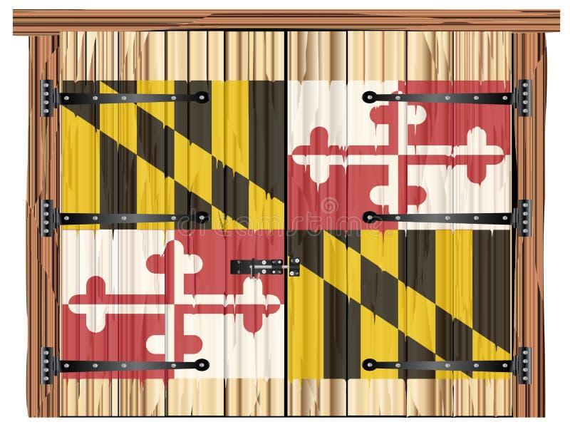 Porta di granaio chiusa con la bandiera dello stato di Maryland illustrazione di stock