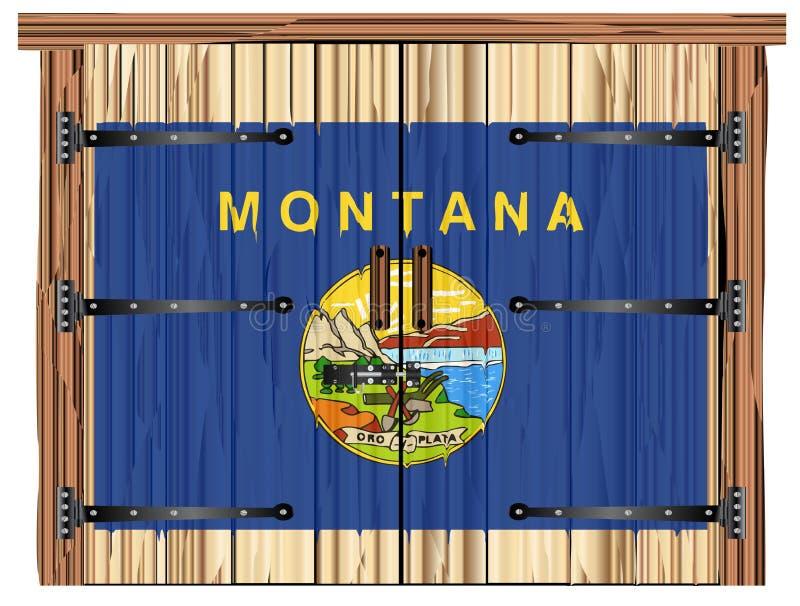 Porta di granaio chiusa con Montana State Flag illustrazione vettoriale