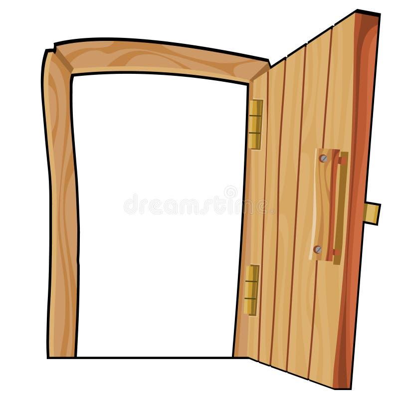 Porta di legno aperta della curva del fumetto su un fondo bianco royalty illustrazione gratis