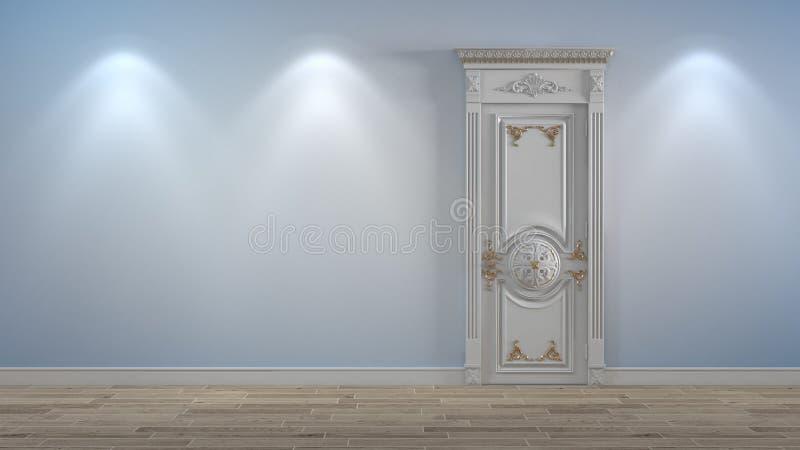 Porta di legno bianca sulla parete leggera illustrazione di stock