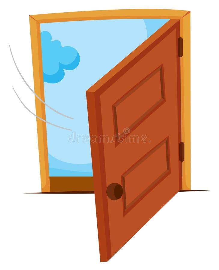 Porta di legno che è aperta illustrazione vettoriale