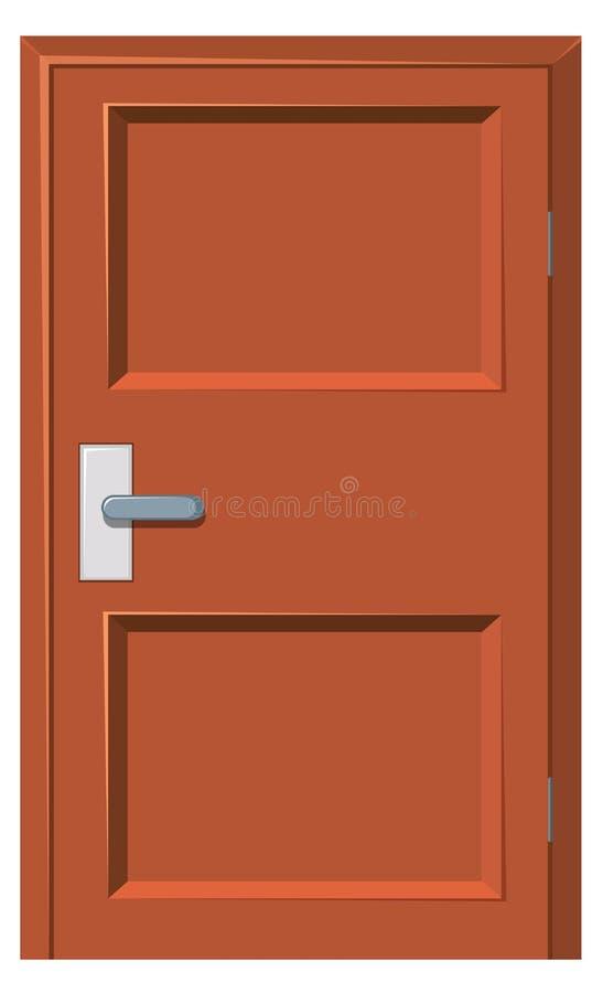 Porta di legno chiusa su bianco royalty illustrazione gratis
