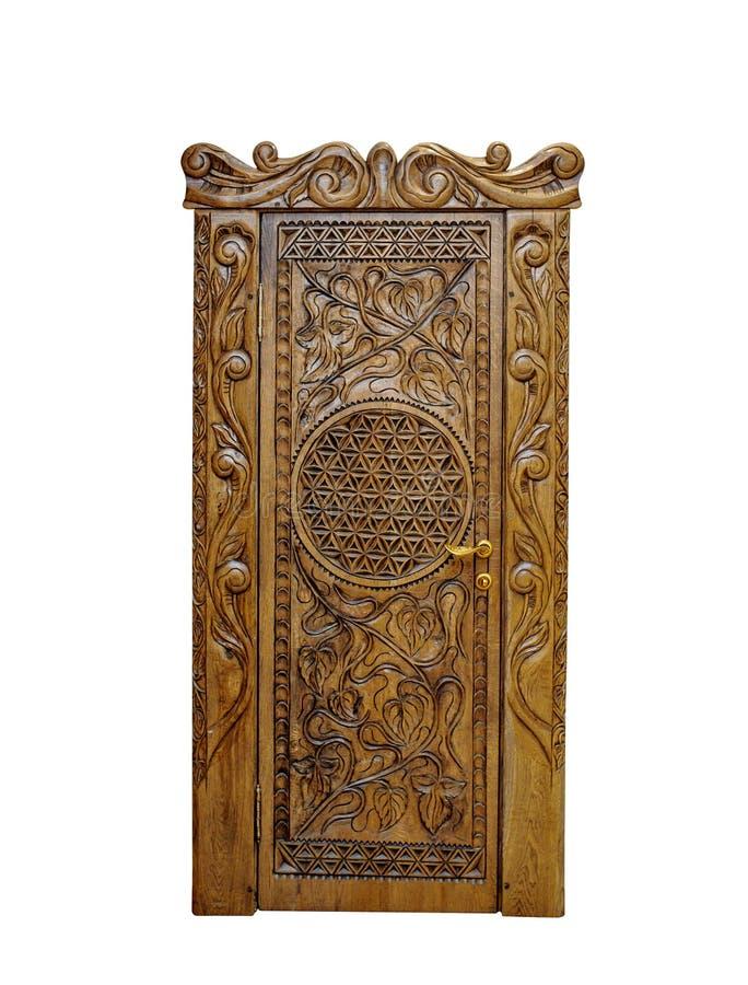 Porta di legno classica isolata su un fondo bianco fotografia stock