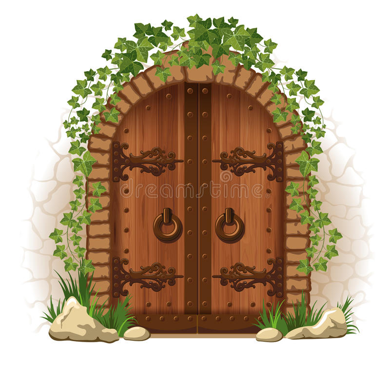 Porta di legno con l'edera illustrazione vettoriale