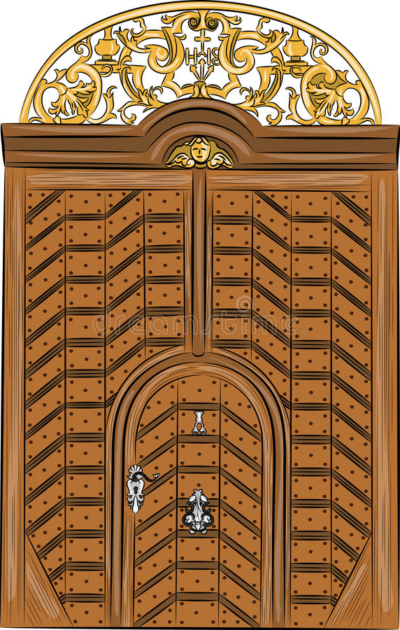 Porta di legno d'annata di vettore illustrazione vettoriale