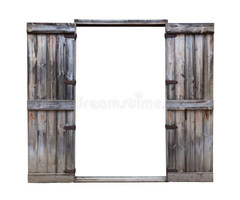 Porta di legno del pino rustico con la cerniera d'annata di stile isolata su fondo bianco per scopo di progettazione architettoni immagine stock