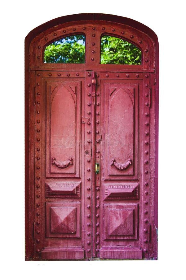 Porta di legno del vecchio arco d'annata su fondo bianco isolato immagine stock