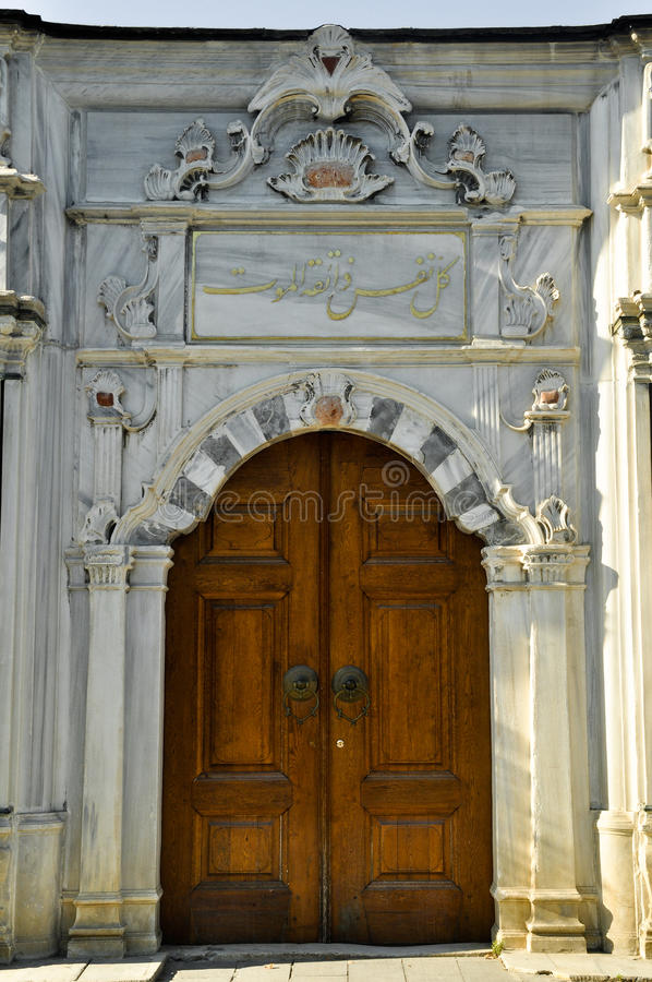 Porta di legno dell'ottomano anziano fotografia stock