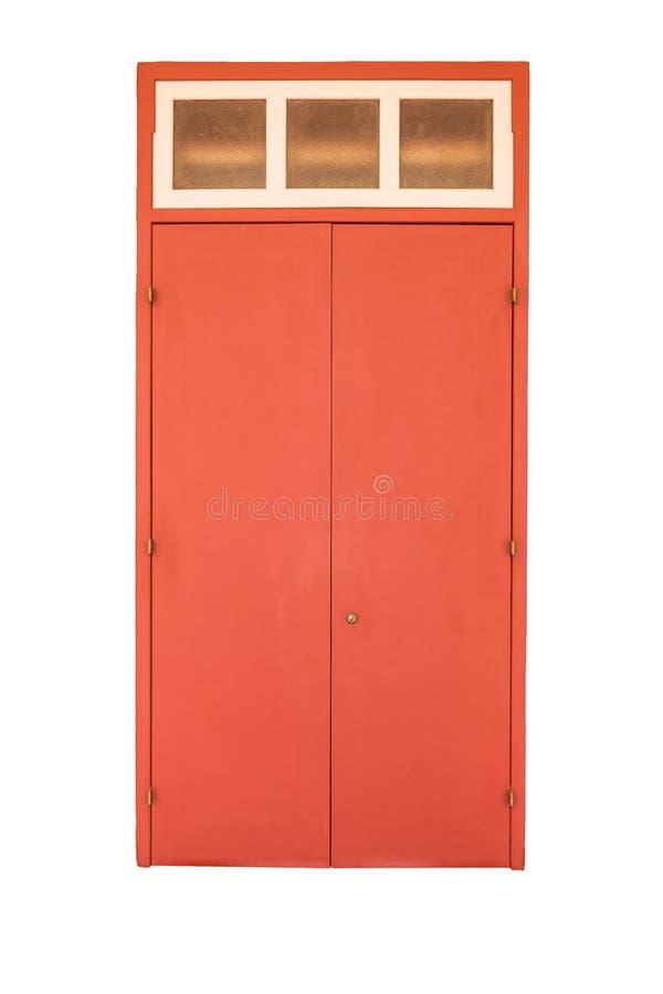 Porta di legno di vecchio stile nel colore rosso isolata su bianco fotografia stock libera da diritti