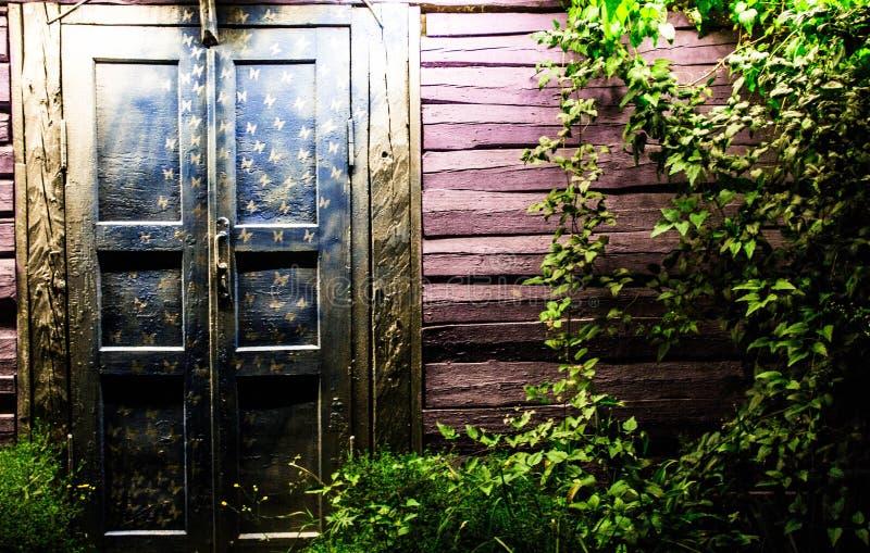 Porta di legno di fiaba magica Iarda di fiaba alla notte fotografie stock libere da diritti
